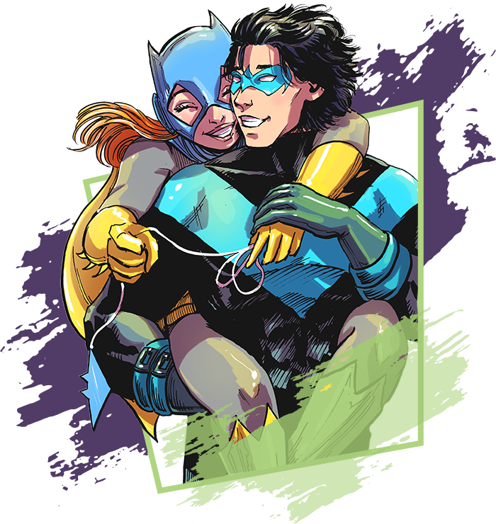 image of knightwing and batgirl